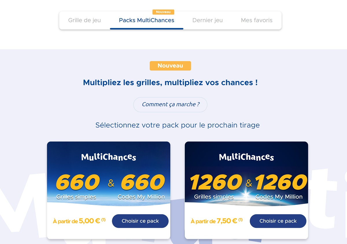 Packs Multichances EuroMillions