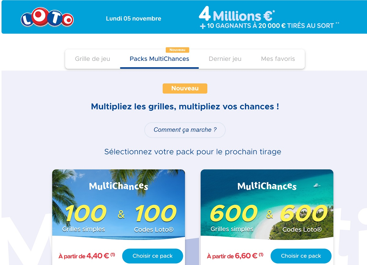 Packs Multichances au Loto
